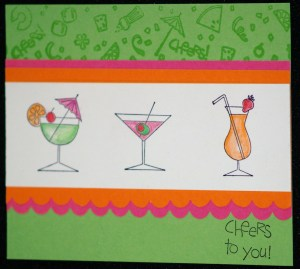 Basic card using the wheel, Cheers to You set, and the scallop border punch.