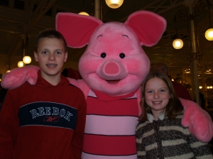 The kids and piglet!