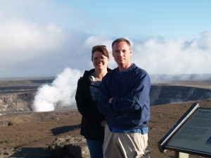 Jeff & I overlooking the Kileaua volcano caldera.  It's recently started spewing ash, unfortunately we missed the eruptions that occurred earlier that day.