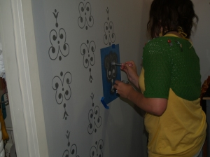 Here they were using some of our new wall stencils to decorate the room.